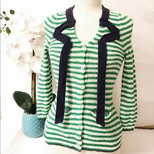 ANTHROPOLOGIE Navy, green & white stripe cardigan